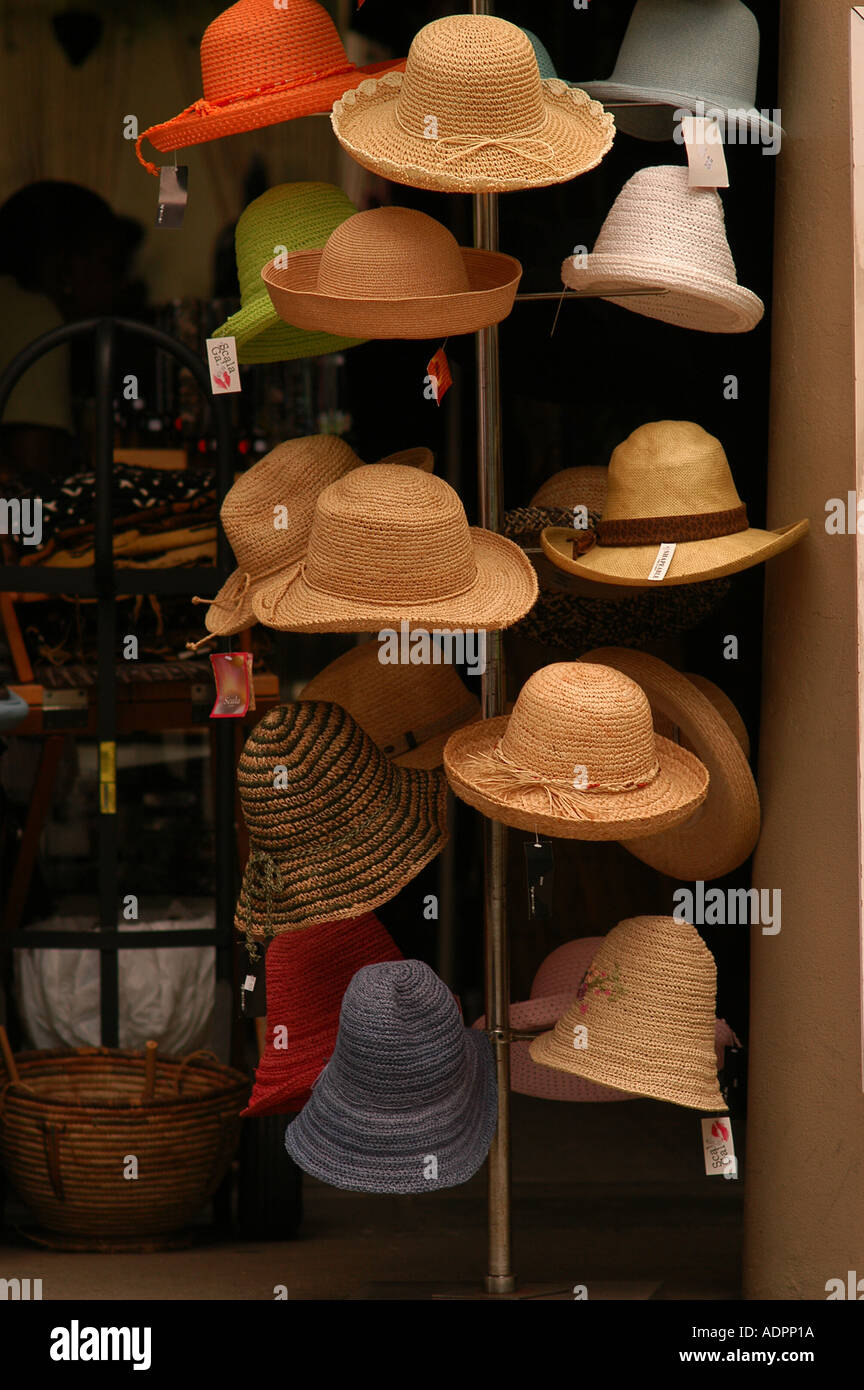 7e5f2e092e1 Hats on display in shop in French Quarter New Orleans Louisiana ...