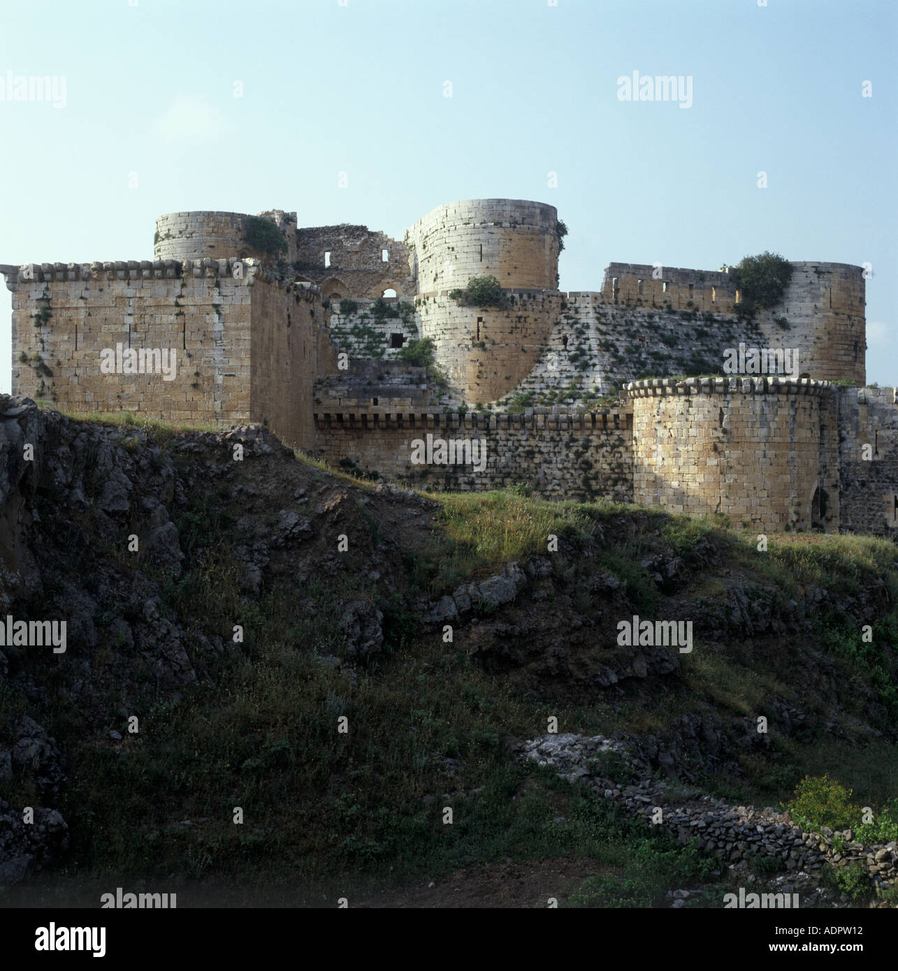 Krak des Chevaliers also known as Qalaat al Hosn Crusader castle Syria - Stock Image
