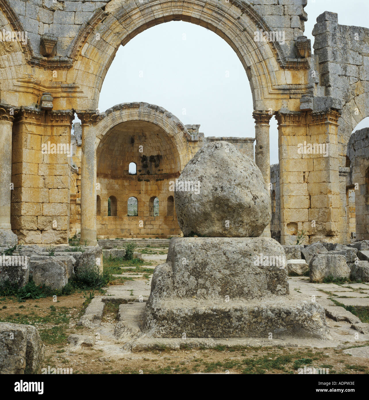 Church of St Simeon also known as Qalaat Samaan showing stump of stylites column Syria - Stock Image