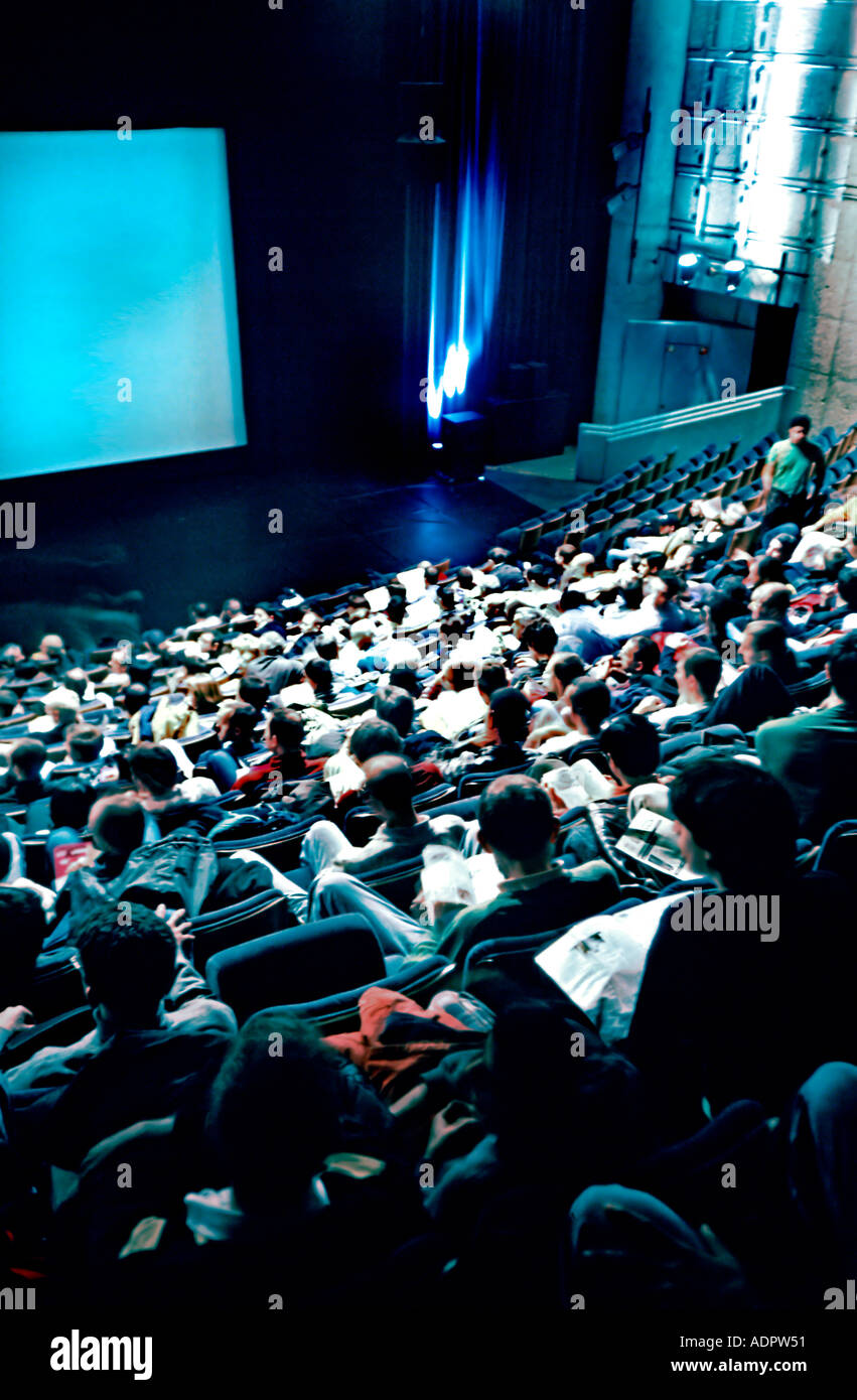 Paris France, Cinema Theater Interior with Rear, Audience Crowd 'Forum des Images' - Stock Image