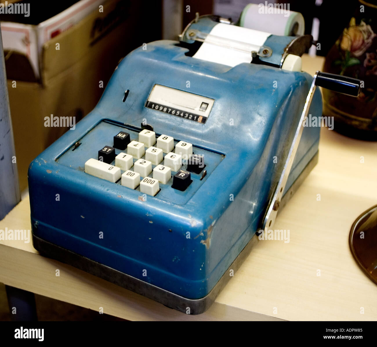 manuel calculator old adding machine on desktop for sale at french