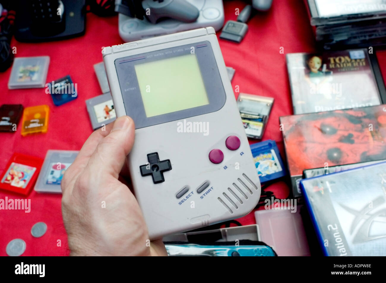 Paris France, Shopping 1980s Consumer Electronic Products Children's 'electronic Games' Toy 'Flea Market' Old 'Game Boy' Vintage - Stock Image
