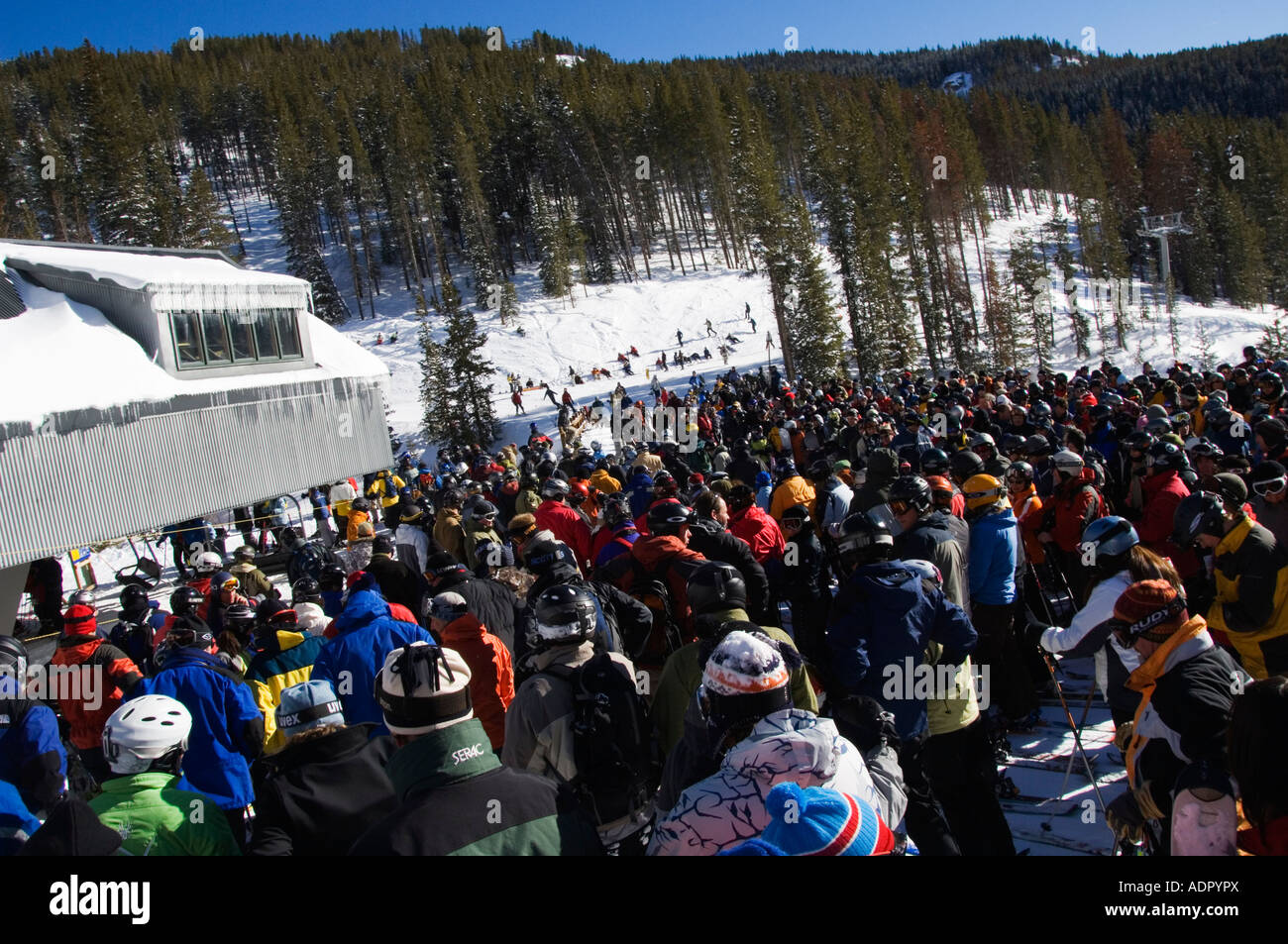 USA Colorado Vail Ski Resort Skiers waiting at a congested chair lift in Vail - Stock Image