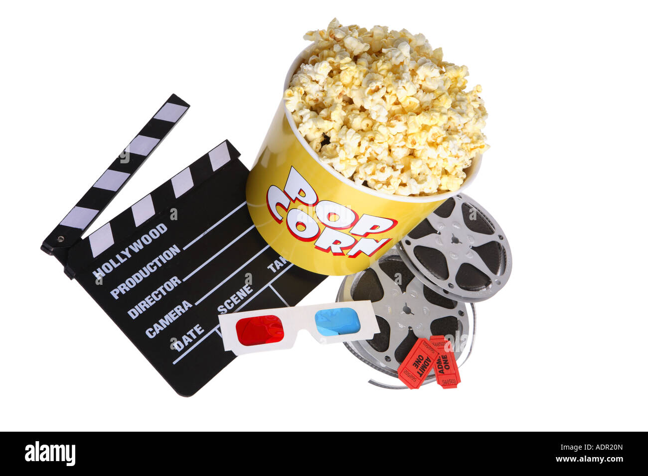 Movie things: clapper board, 3d glasses, tub of popcorn, movie reels and tickets - Stock Image