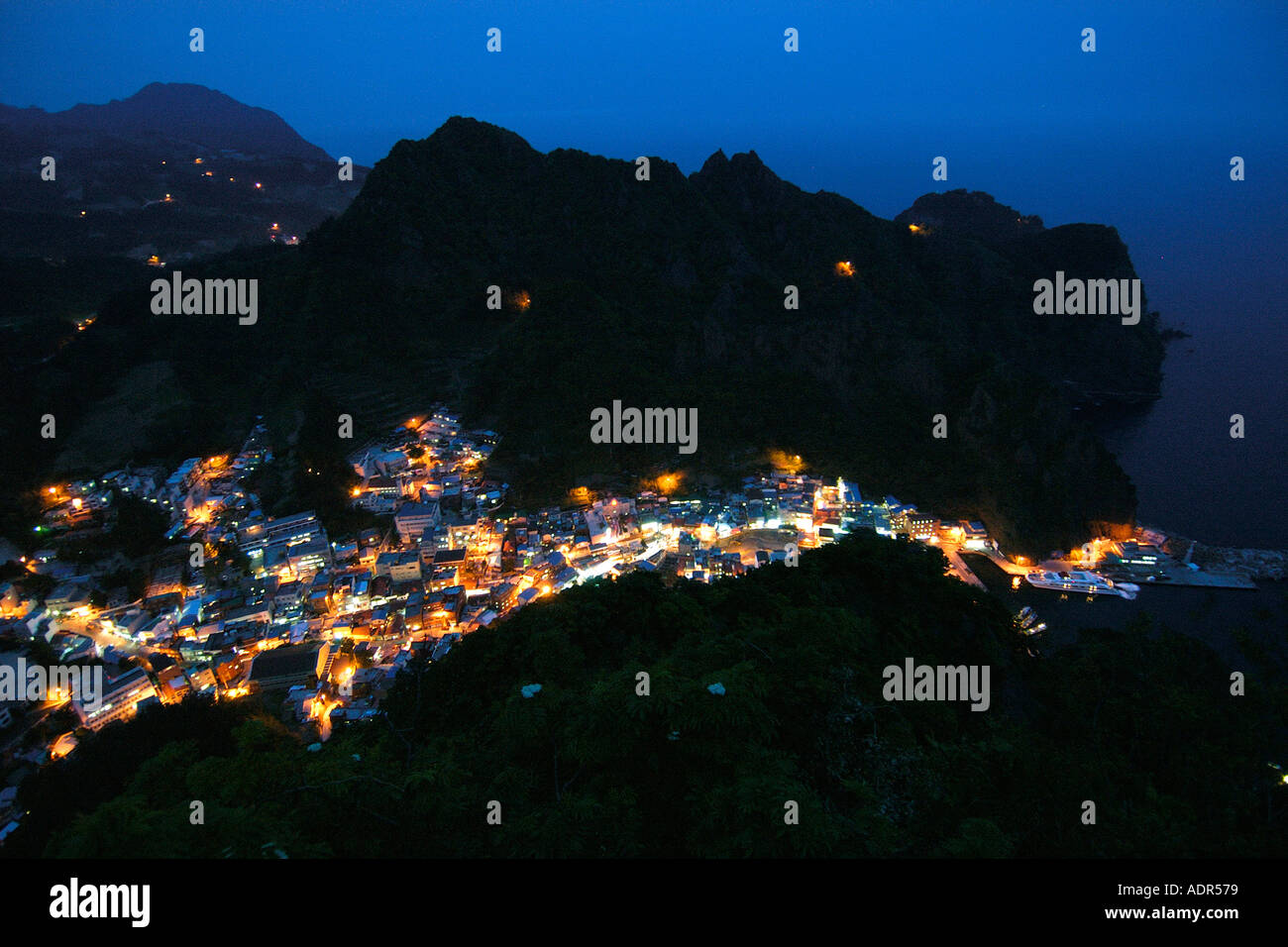 Village of Dodong Ri at night Ulleung Do island South Korea East Sea Stock Photo
