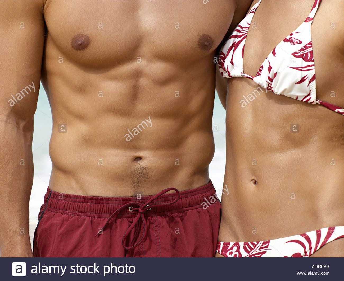 Healthy couple wearing swimwear - Stock Image