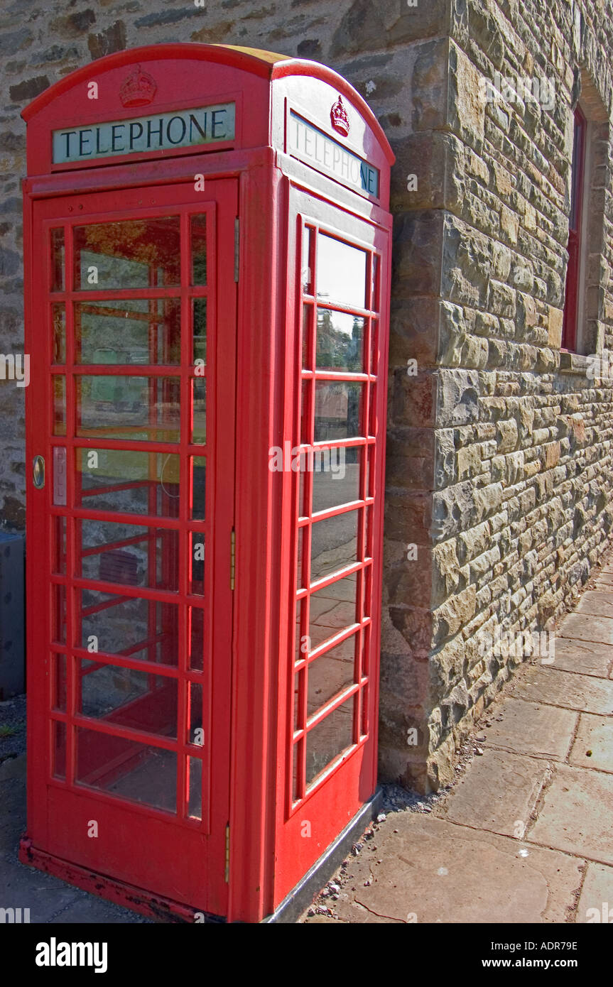 Red Telephone Kiosk, Museum of Welsh Life, St Fagans, Cardiff, South Wales, UK - Stock Image