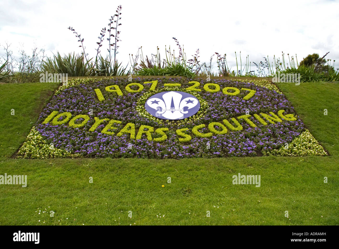 a century of scouting floral display near penzance in cornwall,england - Stock Image