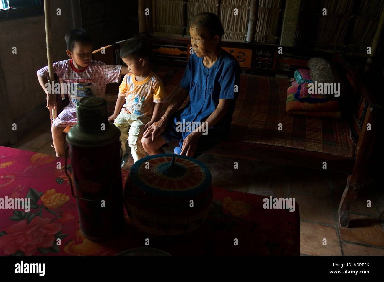 HIV Children Nug Yen 8 and his brother Nug Yen Quoc Viet 4 with their grandmother. - Stock Image