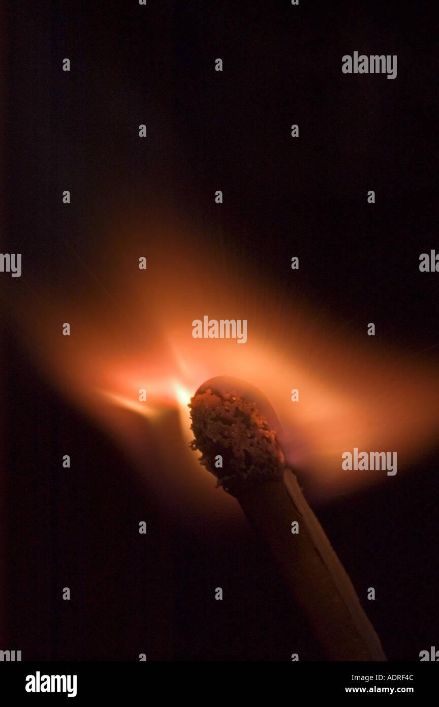 Burning match - Stock Image
