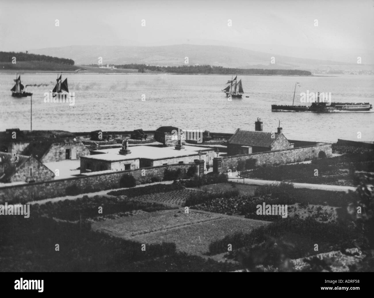 UK Scotland Greenock looking over Fort Matilda and the Firth of Clyde the Paddle Steamer Edinbugh Castle and sailing Stock Photo