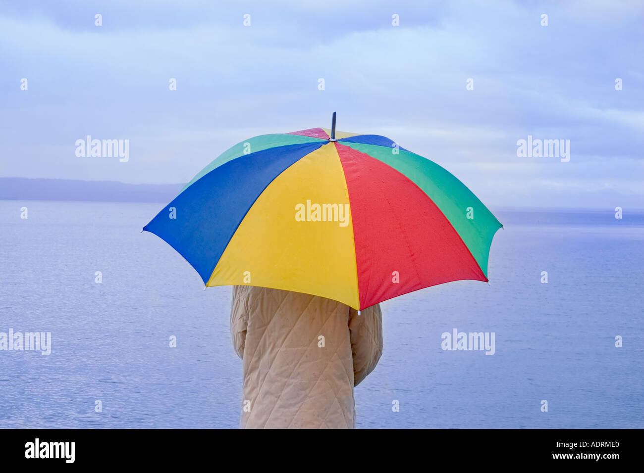 Woman with umbrella looking at a lake at foul weather - Stock Image