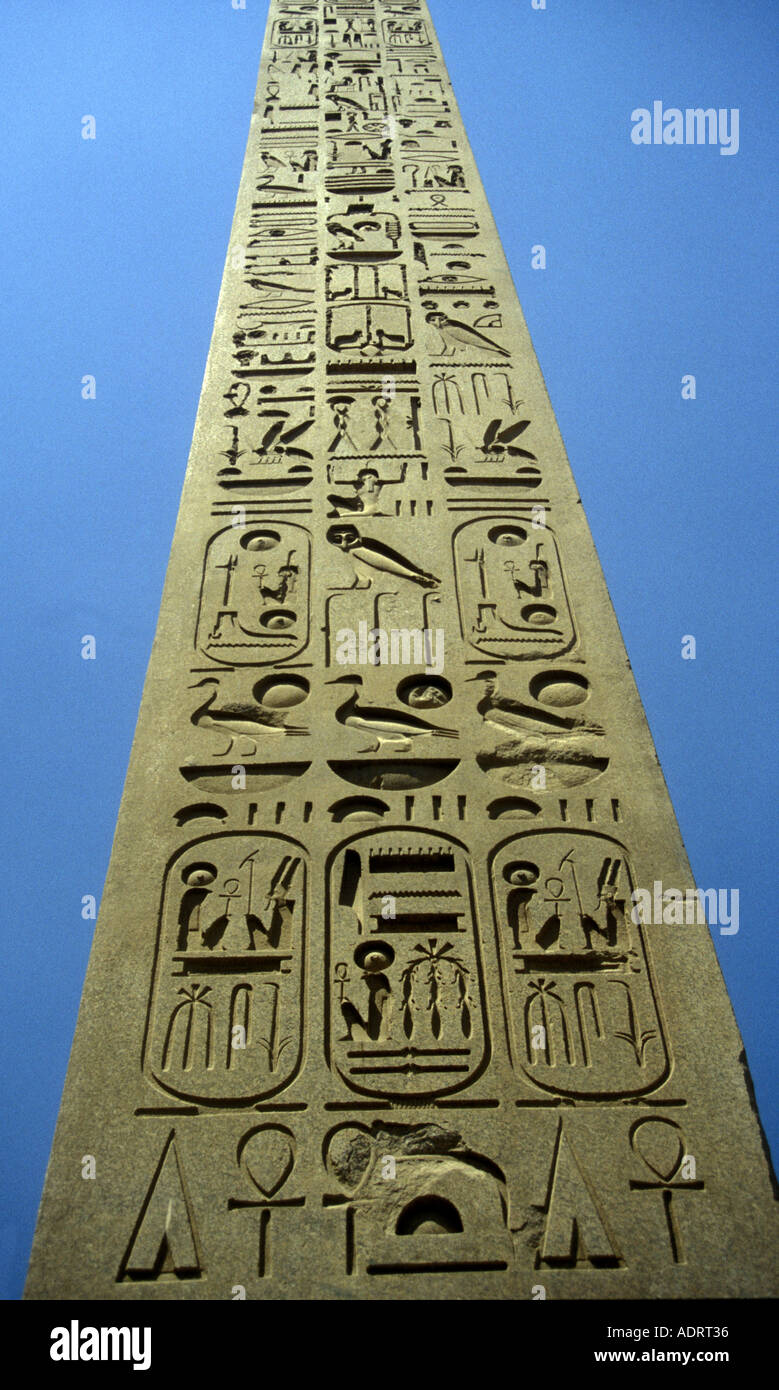 EGYPT the obelisk of Ramses II 19th dynasty (BC1304 1237 ) at Luxor. Height  25 03 m and weighing 254 tons .