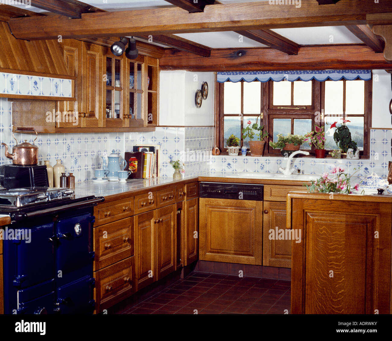 blue and white kitchen wall tiles country kitchen with wooden cupboards and blue and white 9310