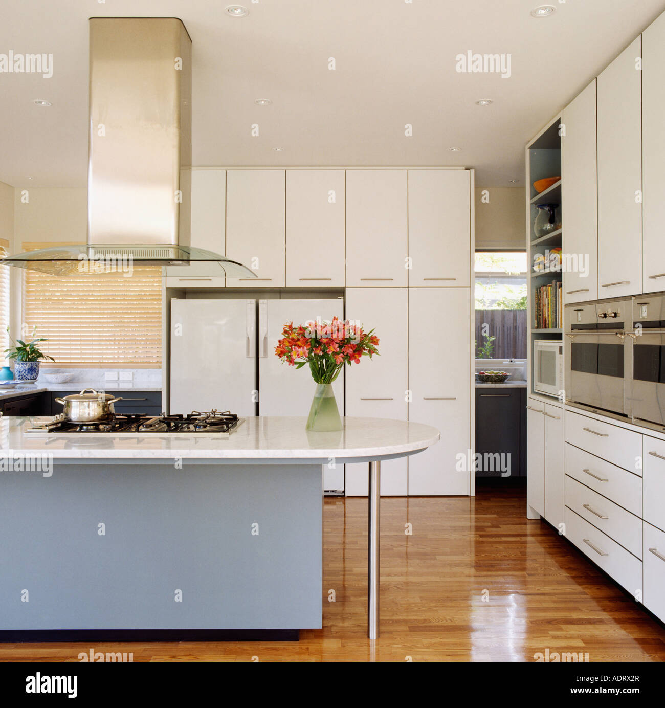 Kitchen Island Designs With Hob: Extractor Fan Above Hob In Blue Island Unit In Modern