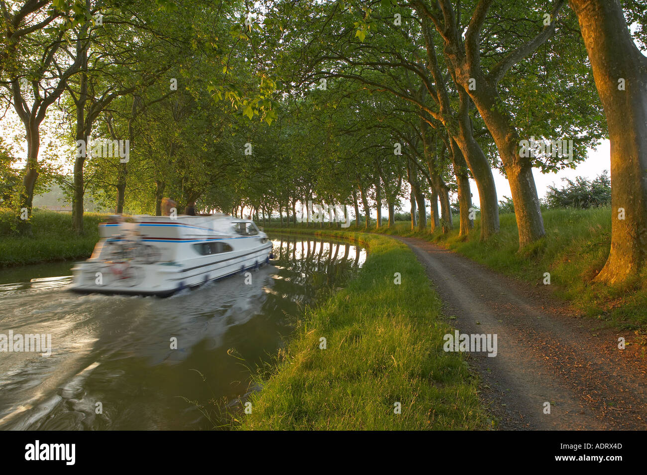Canal boat on the Canal du Midi nr Carcassonne Languedoc France - Stock Image