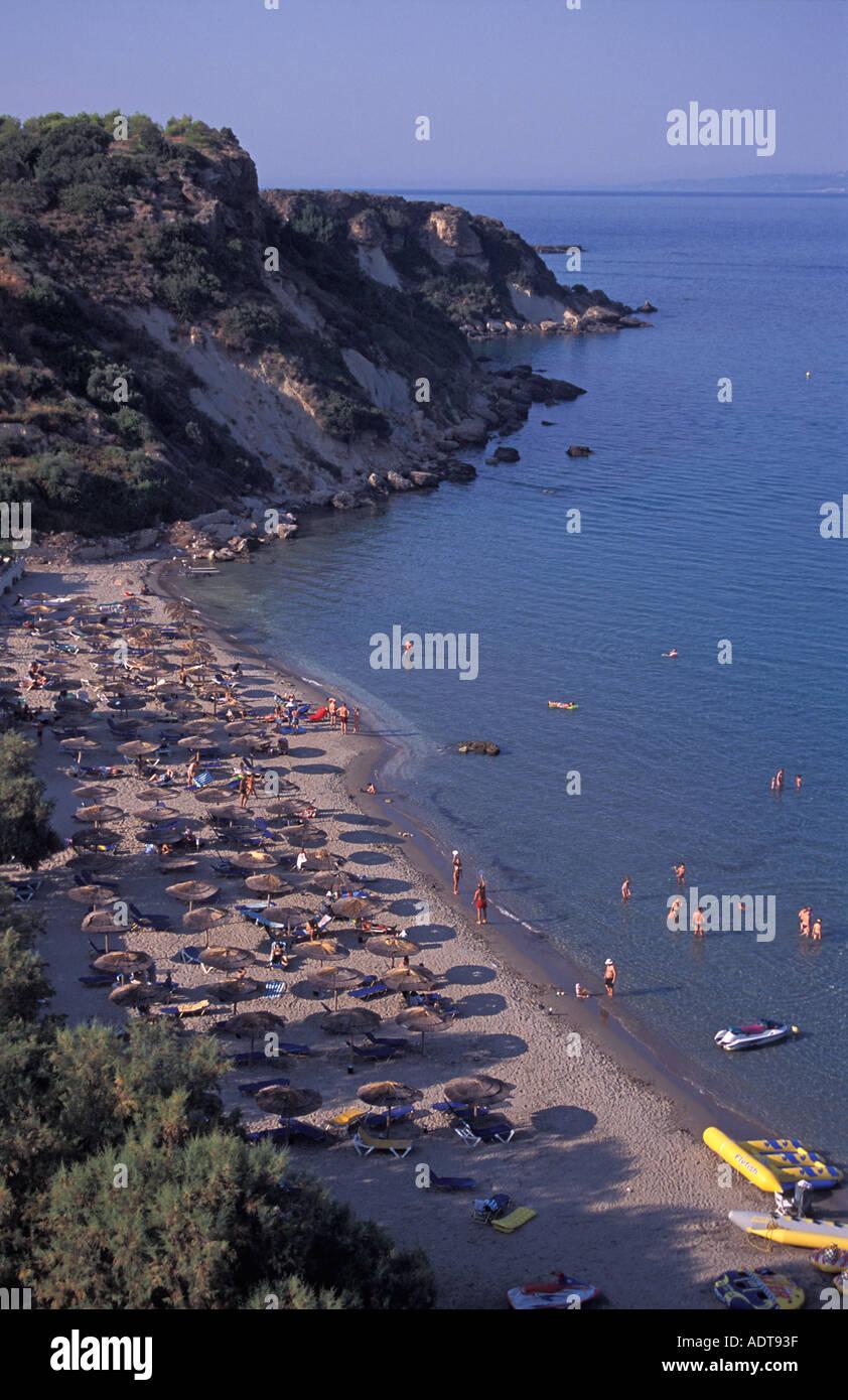 Popular beach Vasilikos Zakynthos island also known as Zante Ionian Islands Greece Mediterranean Sea Europe - Stock Image
