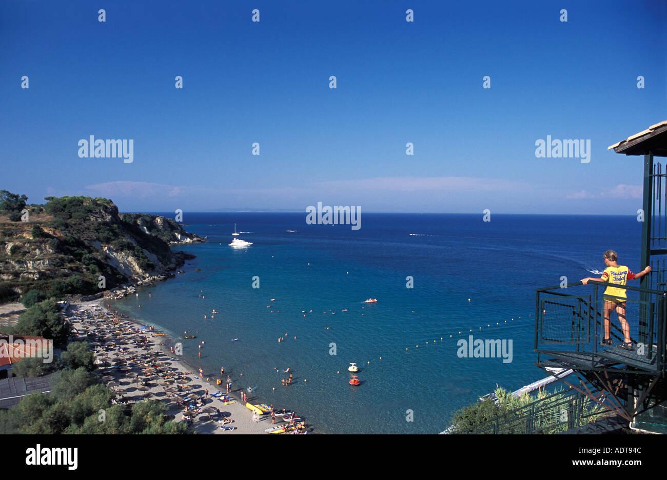 Popular beach Vasilikos Zakynthos island also known as Zante Ionian Islands Greece Mediterranean Sea - Stock Image