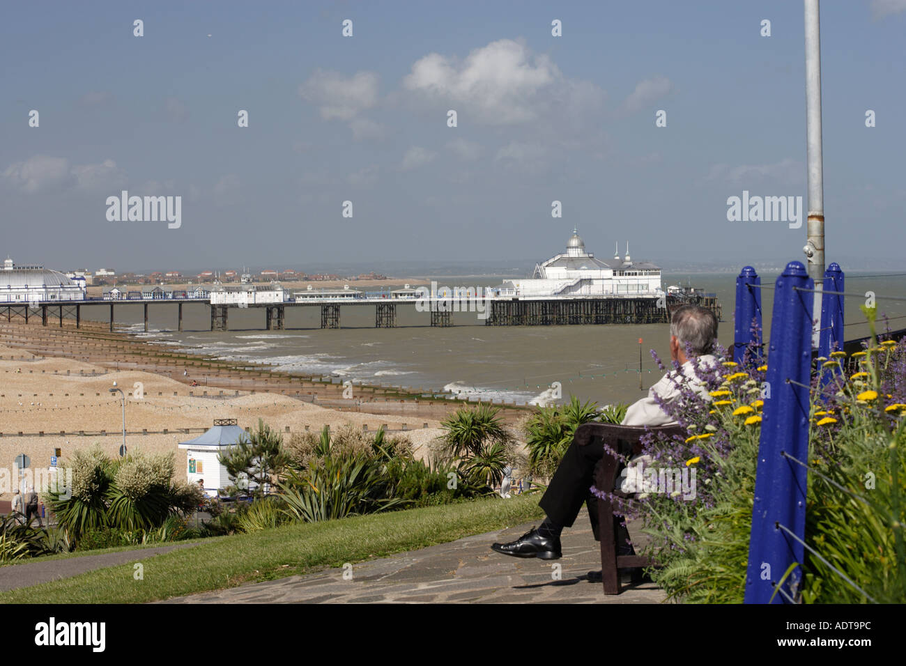 Watching the view of the English seaside town of Eastbourne East Sussex Great Britain UK - Stock Image