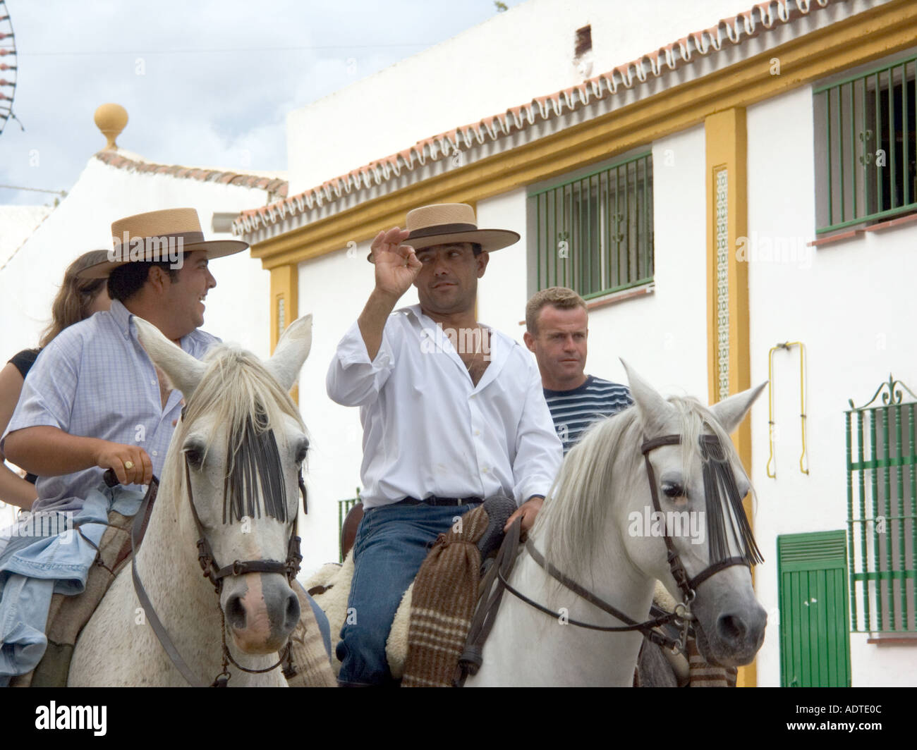official supplier how to buy genuine shoes Men in Traditional Hats Spanish Horseman Fuengirola Feria ...