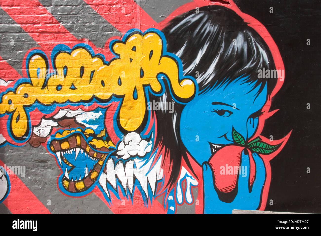Street Mural  Hoxton London England UK - Stock Image