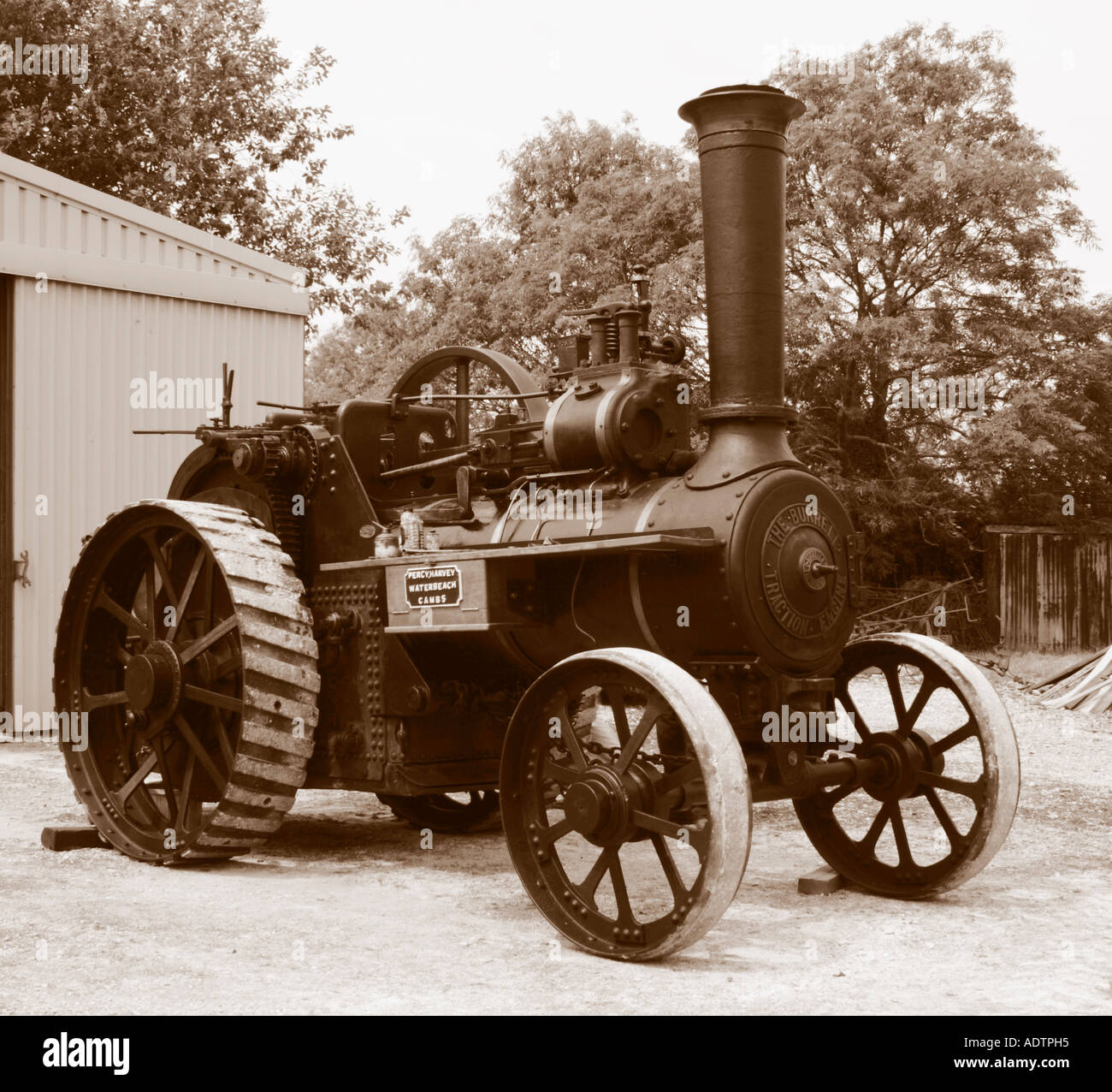 Traction Engine in Sepia - Stock Image