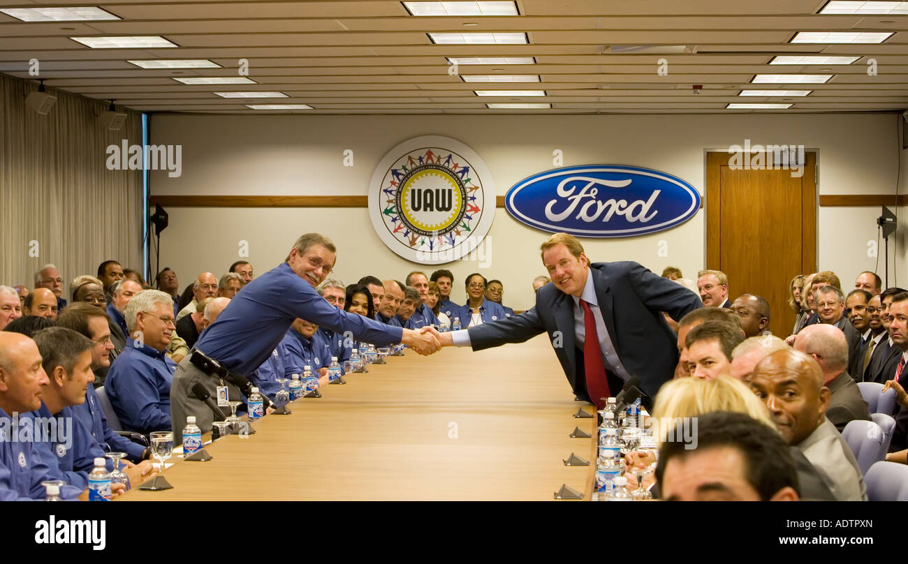 UAW and Ford Begin Contract Negotiations Stock Photo