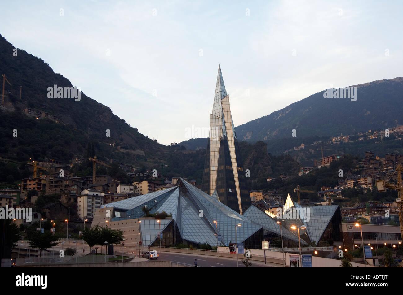 Andorra Andorra La Vella Hot Spring Complex Caldea lit up in the evening Stock Photo