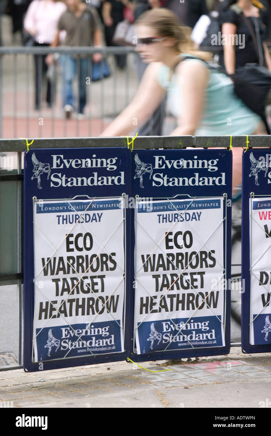 Newspaper headline in London about climate change protestors targeting Heathrow Airport Stock Photo