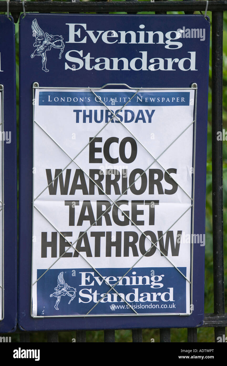 Newspaper headline in London about climate change protestors targeting Heathrow Airport - Stock Image
