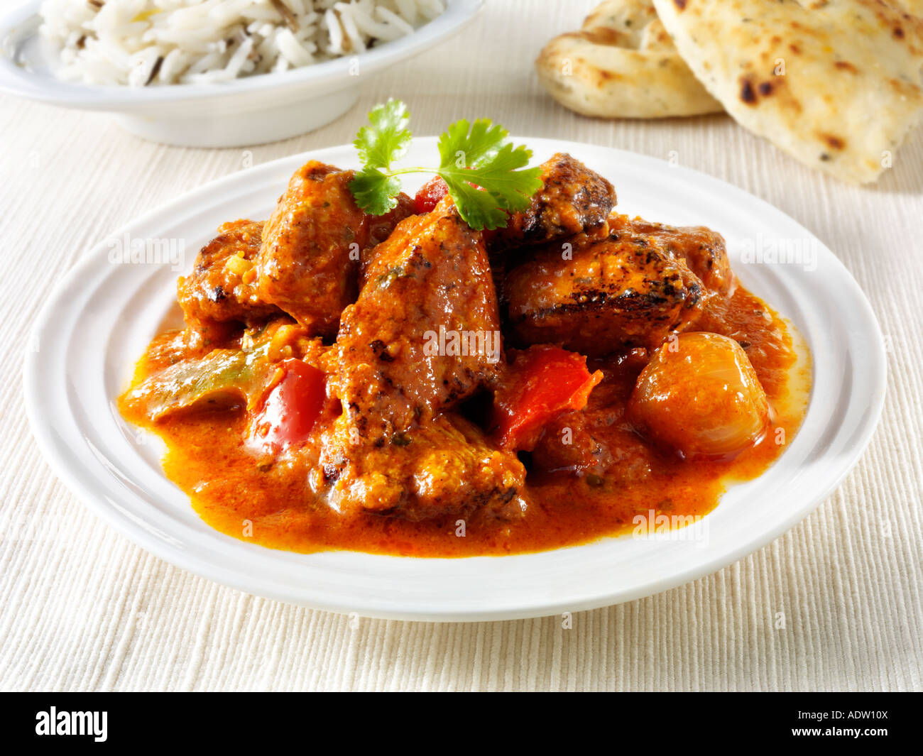 Chicken Jalfrezi indian curry with rice - Stock Image