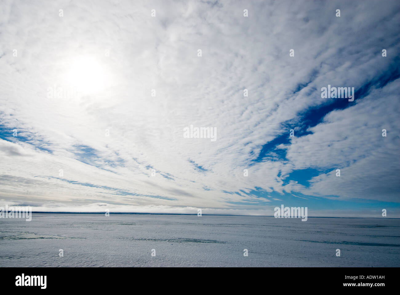 Arctic sky above sea ice. - Stock Image