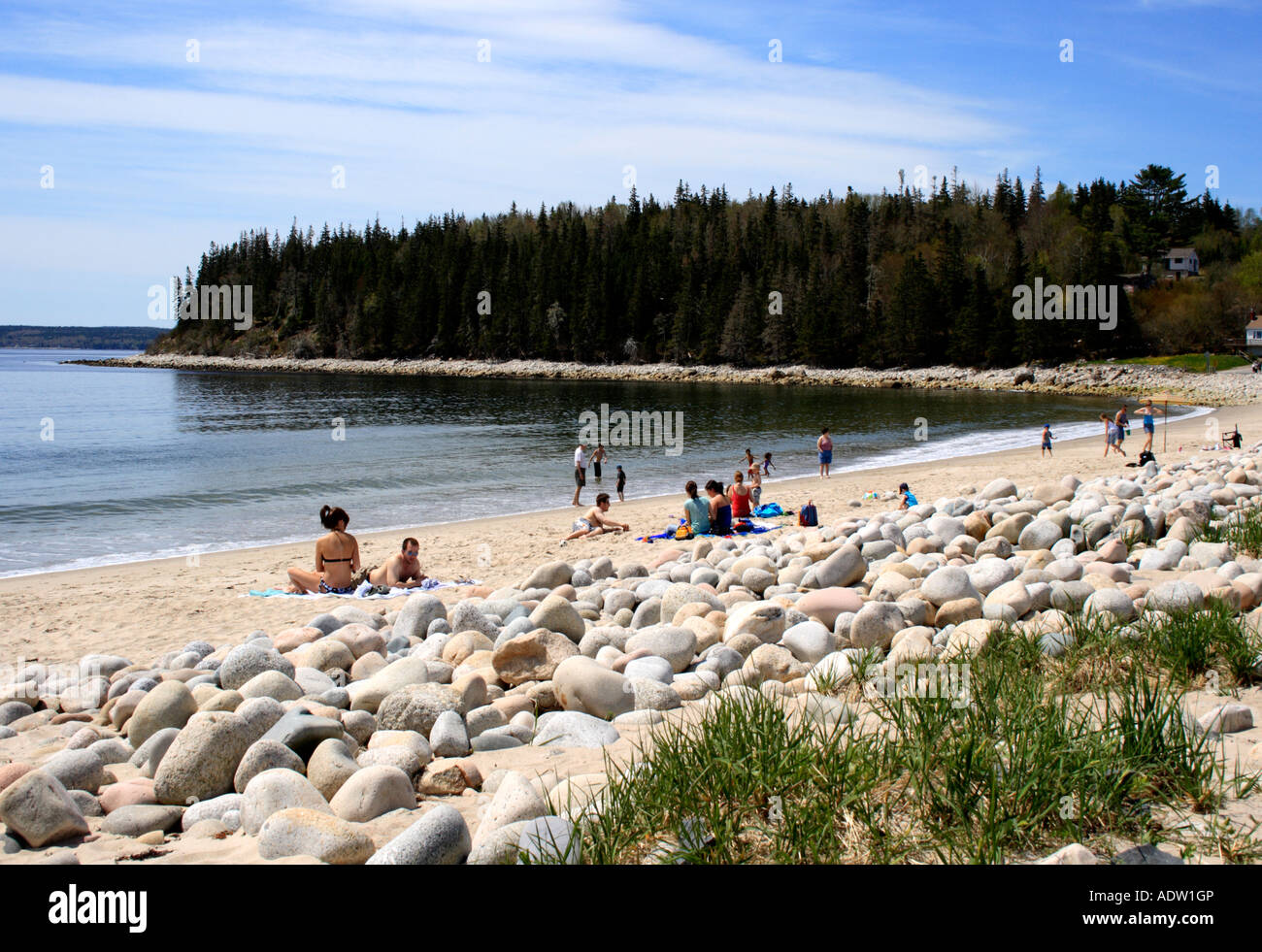 beach with sunbathers St. Margarets Bay, Canada, Nova Scotia, North America. Photo by Willy Matheisl - Stock Image