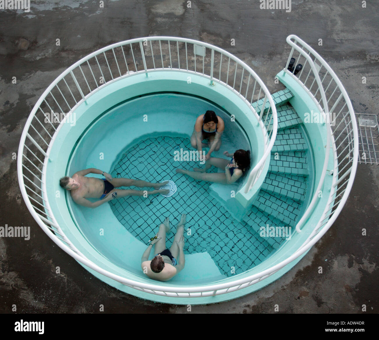 People in a hot tub, Laugardals swimming pool, Reykjavik ...
