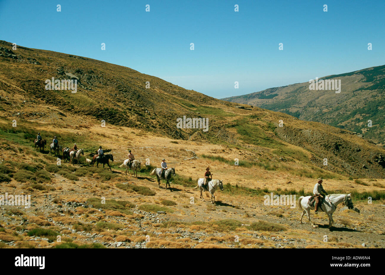 Riders  in the Alpujarra mountains of the Sierra Nevada in Spain - Stock Image