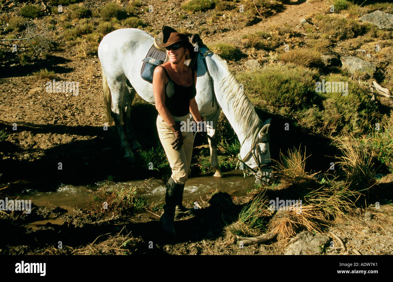 Rider watering her horse in the Alpujarra in the Sierra Nevada Spain - Stock Image