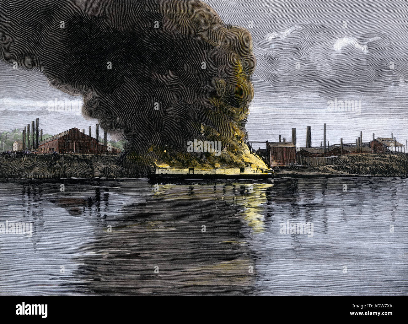 Barges set on fire during the Homestead Strike at Carnegie Steel Works 1892. Hand-colored woodcut - Stock Image