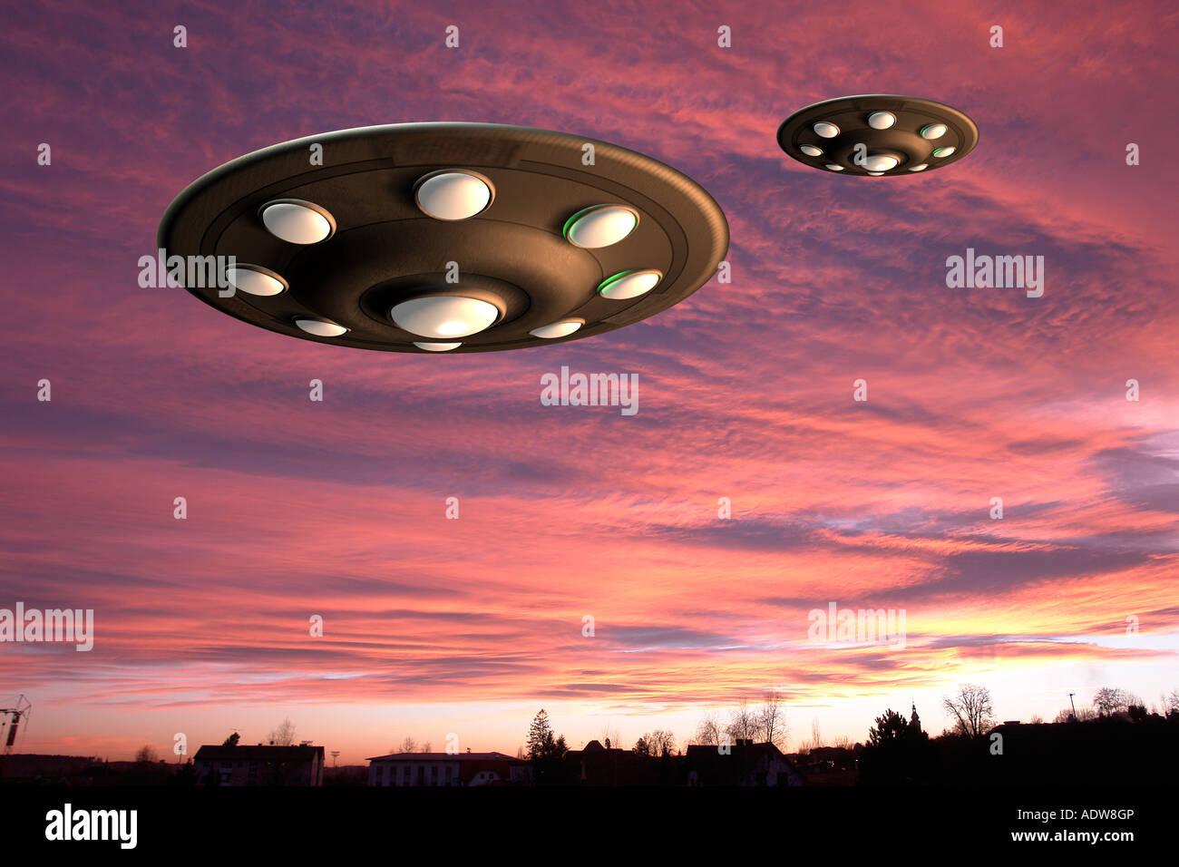 UFO landing - Stock Image
