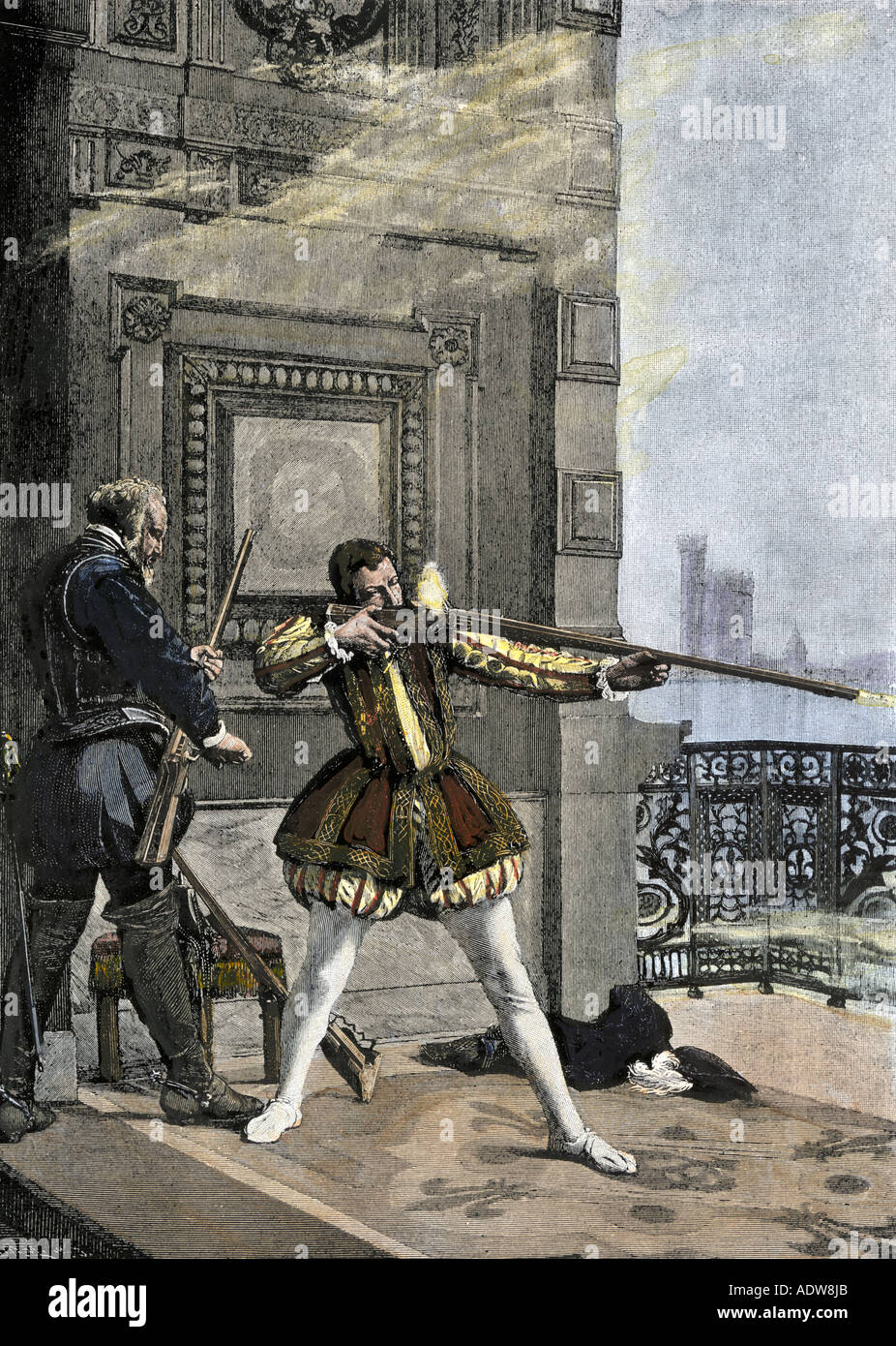 King Charles IX participating in the Saint Bartholomews Day Massacre of French Protestants 1572. Hand-colored woodcut - Stock Image