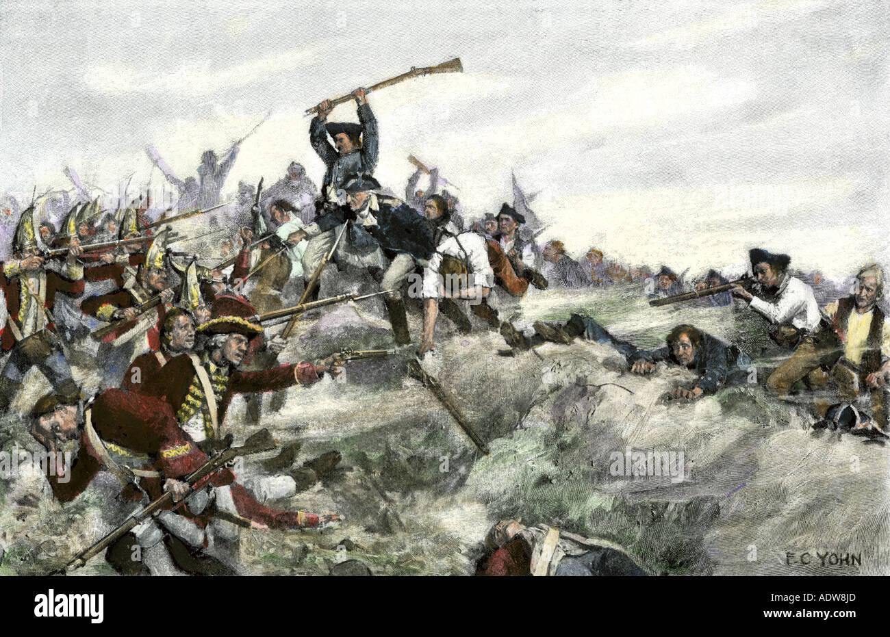 John Stark leading a charge of New Hampshire militia, Battle of Bennington 1777 American Revolution. Hand-colored woodcut of an F.C. Yohn illustration - Stock Image