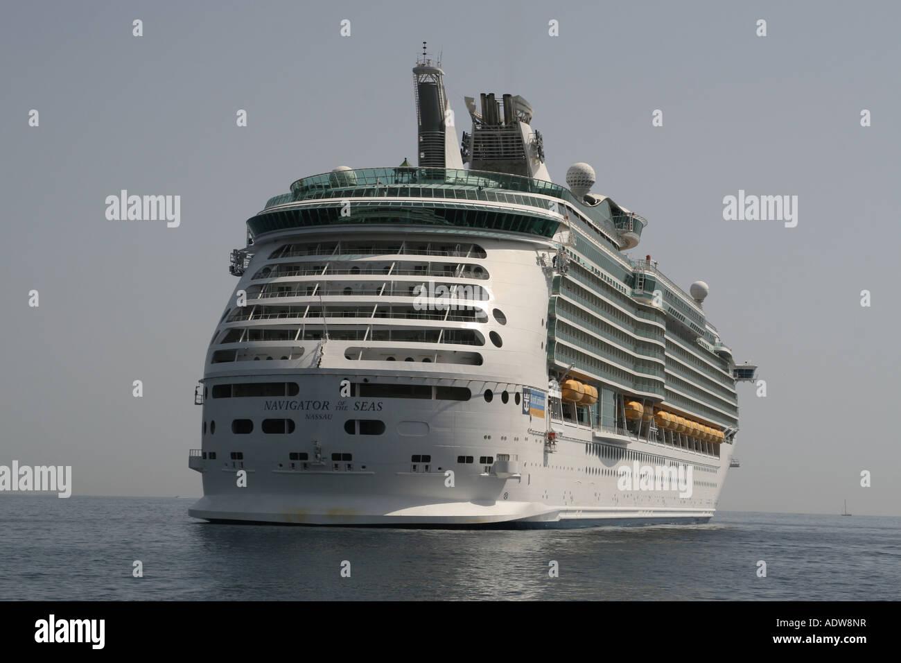 Royal Caribbean cruise ship Navigator of the Seas at anchor in Villefranche - Stock Image