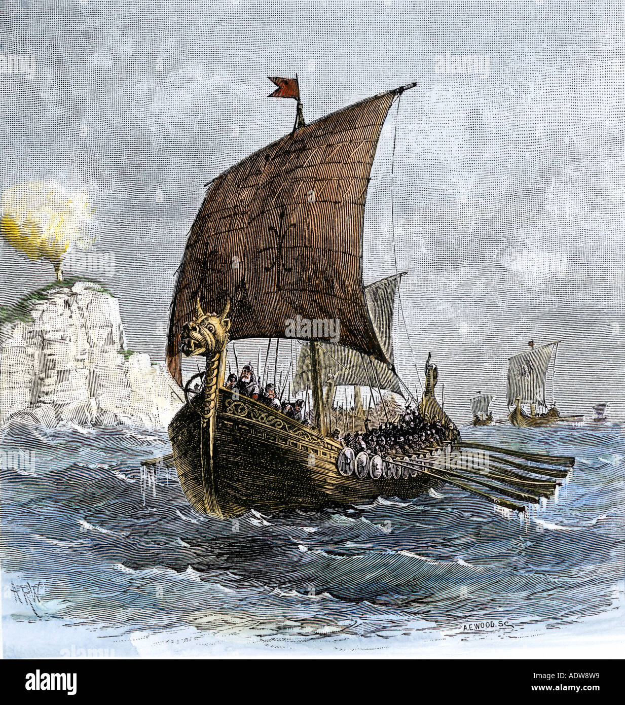 Danish Viking ship Raven at sea showing oars and sails. Hand-colored woodcut - Stock Image