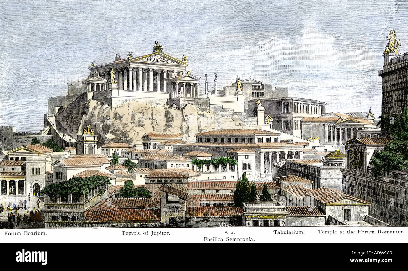 City of ancient Rome seen from Mount Palatine. Hand-colored woodcut - Stock Image