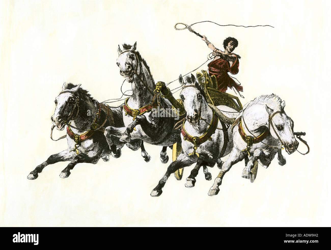 Charioteer whipping his horses in the Circus Maximus ancient Rome. Hand-colored woodcut - Stock Image