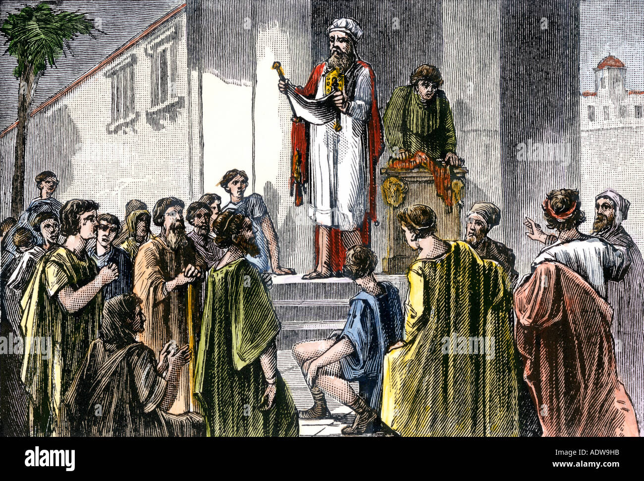 Proclamation read from a scroll in ancient Jerusalem. Hand-colored woodcut - Stock Image