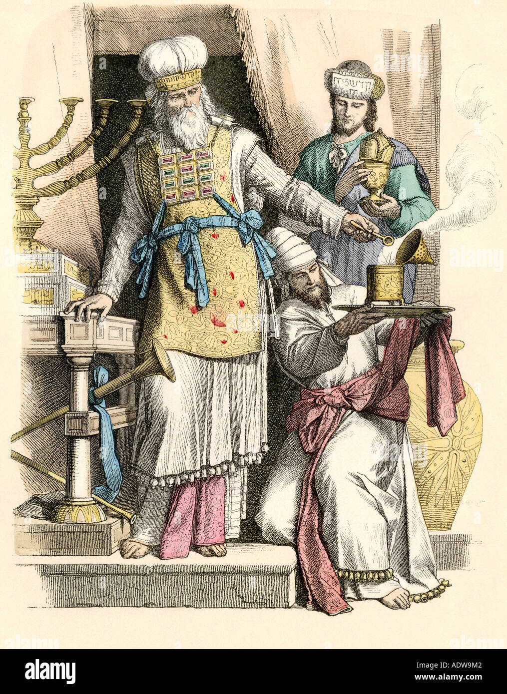 Jewish high priest and Levite conducting a ceremony in ancient Israel. Hand-colored print - Stock Image