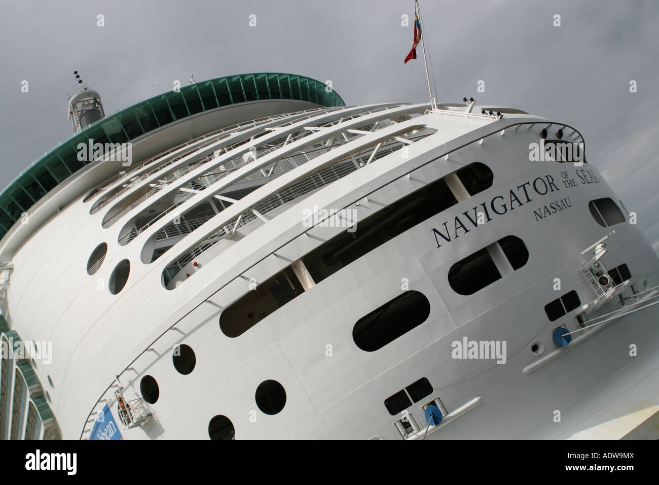 Rear of the the Royal Caribbean cruise ship Navigator of the Seas. - Stock Image