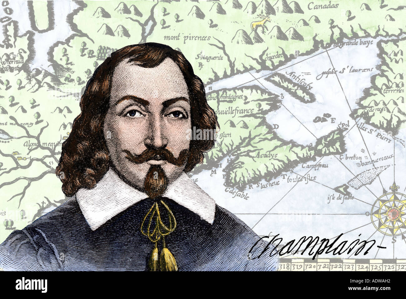 French explorer Samuel de Champlain and his map of the Gulf of St Lawrence in the early 1600s. Hand-colored woodcuts digitally combined - Stock Image