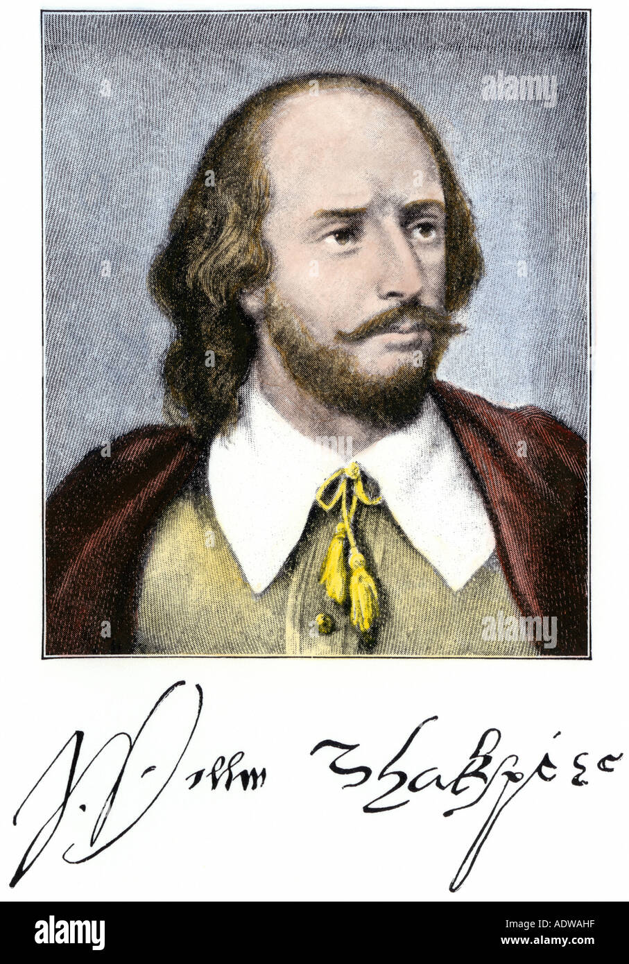 William Shakespeare with autograph. Hand-colored halftone of an illustration - Stock Image