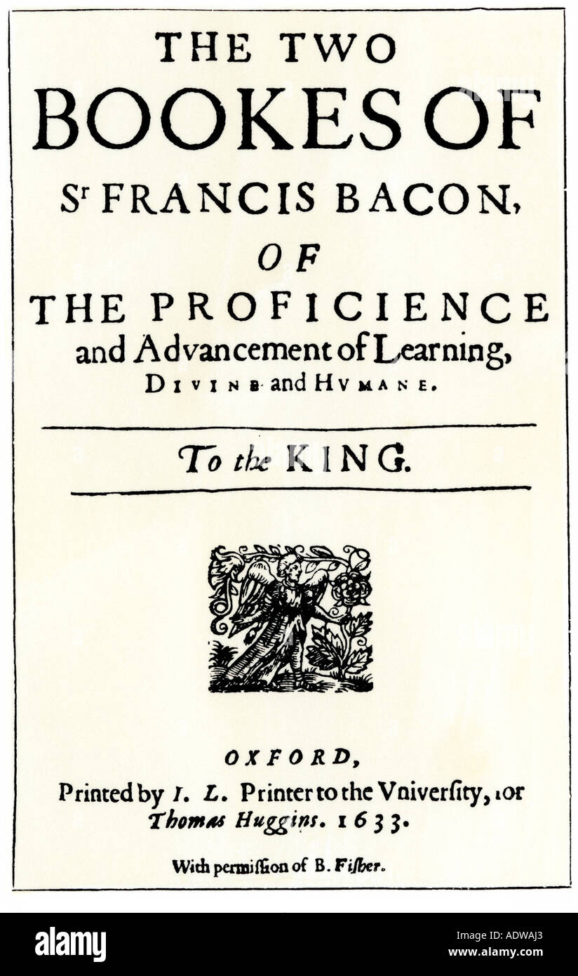 Title page of Advancement of Learning by Francis Bacon 1633. Woodcut with a watercolor wash - Stock Image
